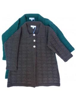 Abrigo de punto gris y turquesa