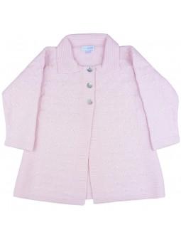 Abrigo de punto rosa