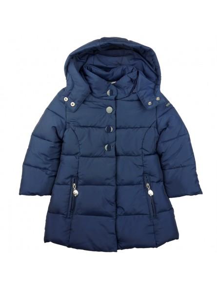 Abrigo plumas azul marino con capucha
