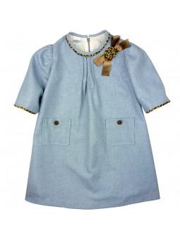 Rochy vestido azul con lazo y bolsillos
