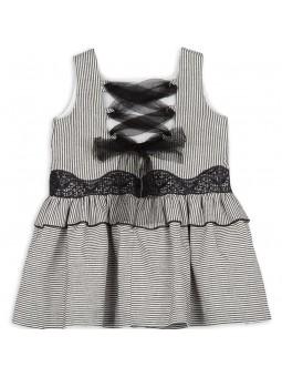 Rochy vestido a rayas negro y blanco vista trasera
