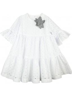 Rochy vestido blanco bordado