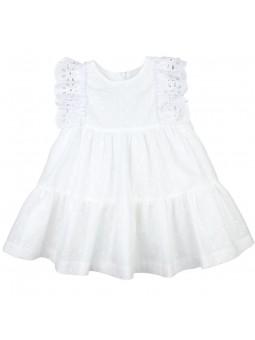 Rochy vestido blanco bordado con puntilla