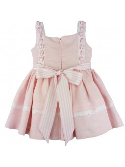 Sapytos vestido de lino rosa vista trasera