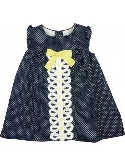 Rochy vestido azul marino con motitas blancas
