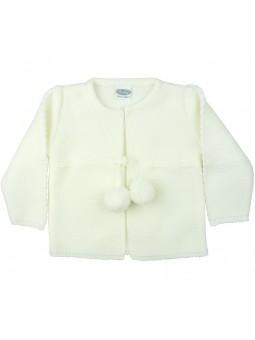 Rochy chaqueta de punto con pompones en crudo
