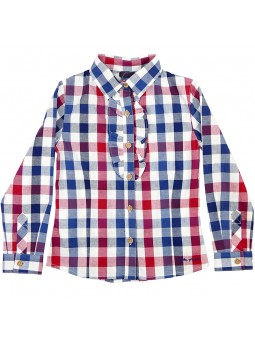 Tutto Piccolo camisa de cuadros con chorreras