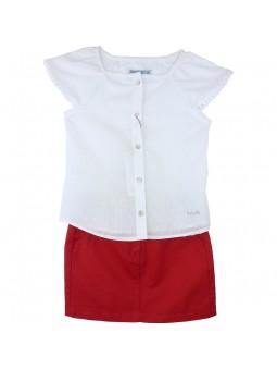 Nachete camisa blanca plumeti con falda roja