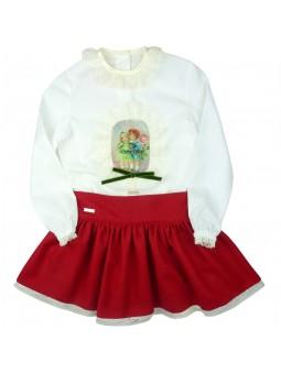 Nora Norita conjunto con falda roja