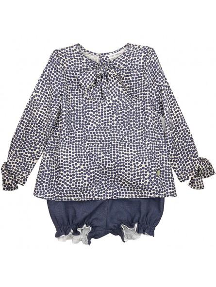 Eve Children conjunto blusa de lunares y bombacho azul plomo