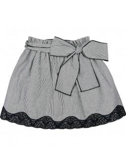 Rochy falda a rayas con encaje negro