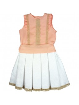 Tartaleta conjunto top de lino y falda blanca jacquard
