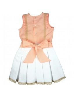 Tartaleta conjunto top de lino y falda blanca jacquard vista trasera
