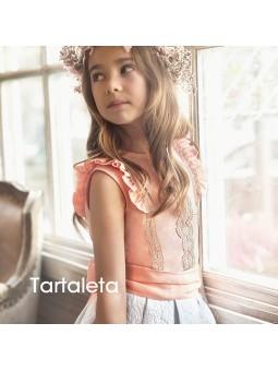 Tartaleta conjunto top de lino y falda blanca jacquard lookbook