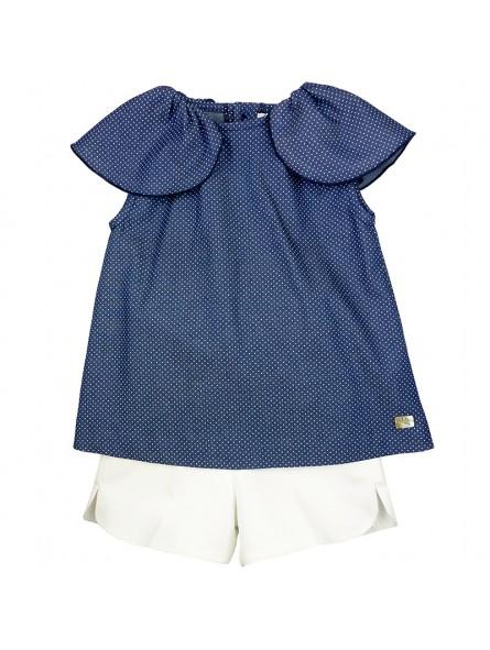 Eve Children conjunto blusa con volantes y short blanco