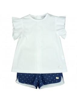 Eve Children conjunto blusa blanca y short navy con lunares