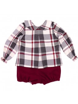 Eve Children conjunto blusa de cuadros y bombacho burdeos