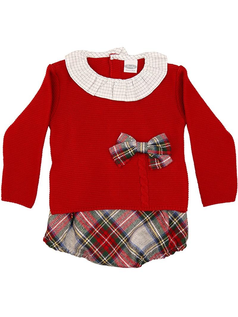 Rochy conjunto bebé rojo con bombacho escocés