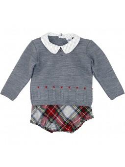 Rochy conjunto bebé jersey gris y bombacho escocés