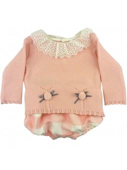 Rochy conjunto bebé melocotón