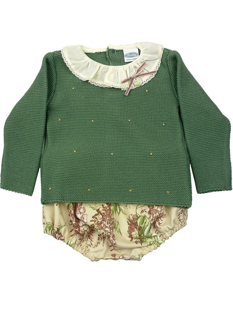 Rochy conjunto bebé con jersey verde y braguita estampada