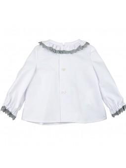 José Varón camisa blanca de bebé vista trasera