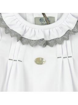 José Varón camisa blanca de bebé detalle puntilla