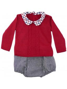 Rochy conjunto bebé jersey granate y braguita jaspeada
