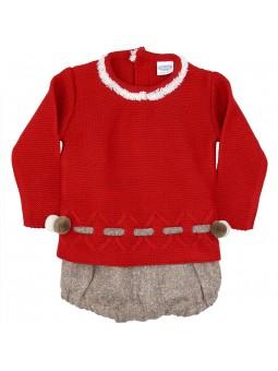 Rochy conjunto bebé jersey pompones y braguita jaspeada