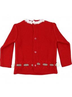 Rochy jersey rojo pompones vista trasera