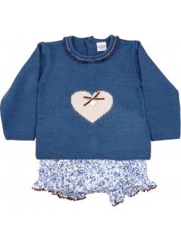 Rochy conjunto bebé jersey con corazón y braguita estampada