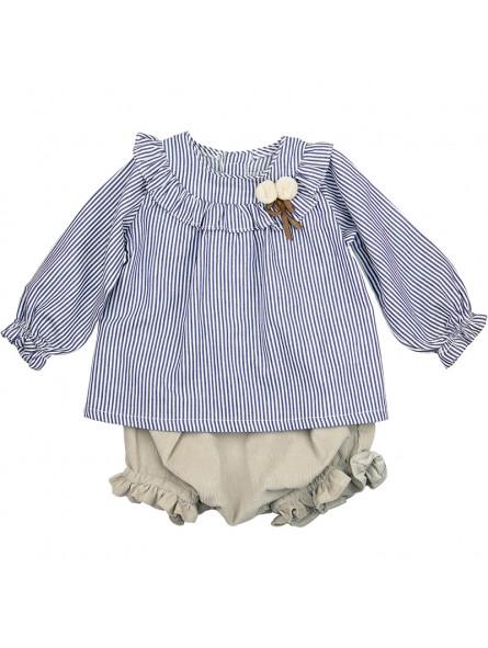 Rochy conjunto bebé camisa de rayas y braguita de pana