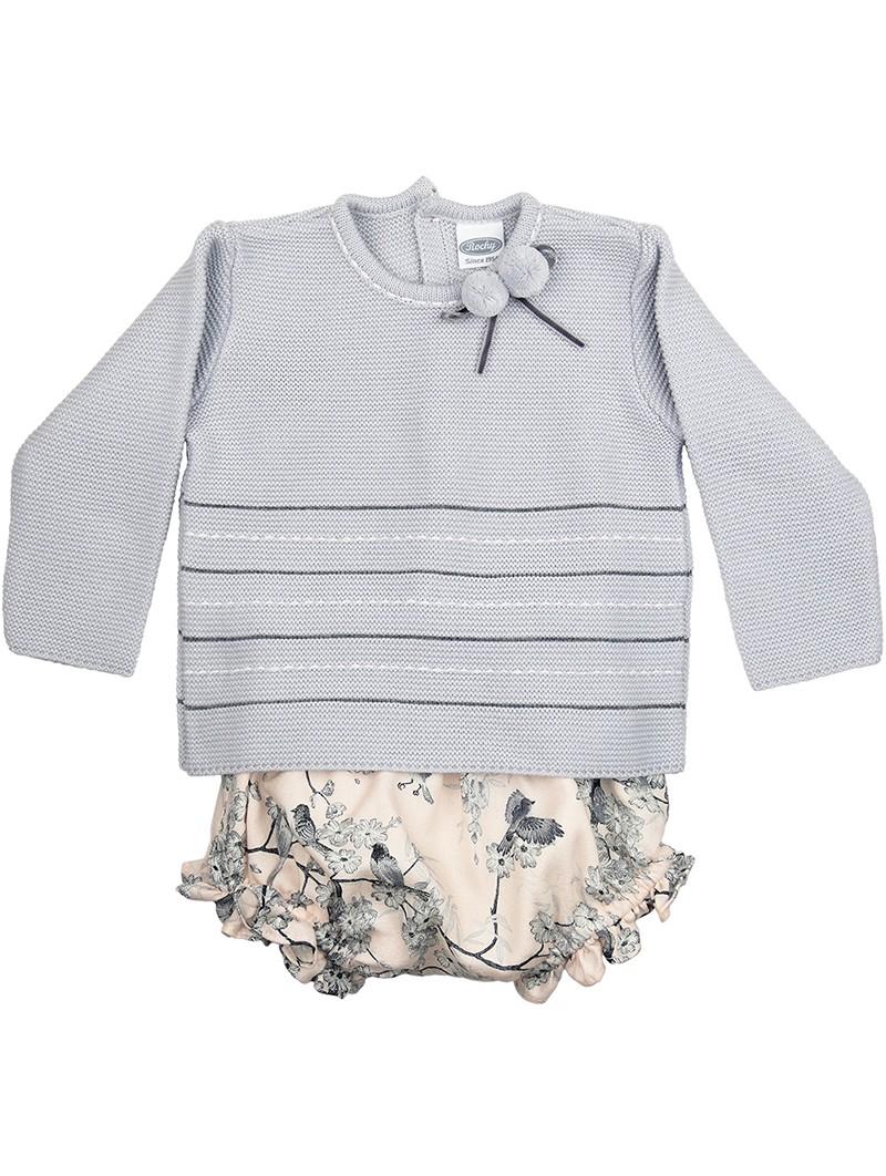 Rochy conjunto bebé jersey gris y braguita estampada con pajaritos