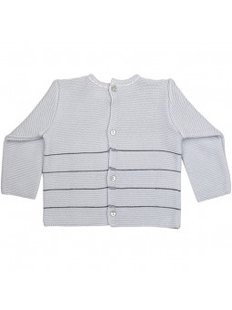 Rochy jersey gris con pompones vista trasera
