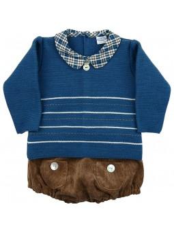 Rochy conjunto bebé jersey azul y braguita de pana marrón