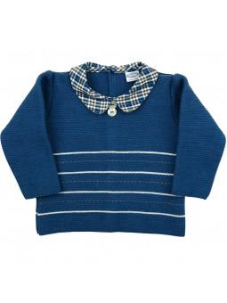 Rochy jersey azul con cuello de cuadros