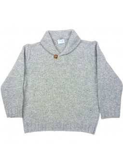 Foque. Jersey gris con cuello smoking
