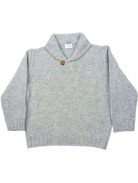 Foque. Jersey gris con cuello smoking