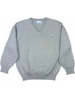 Foque jersey gris con cuello pico