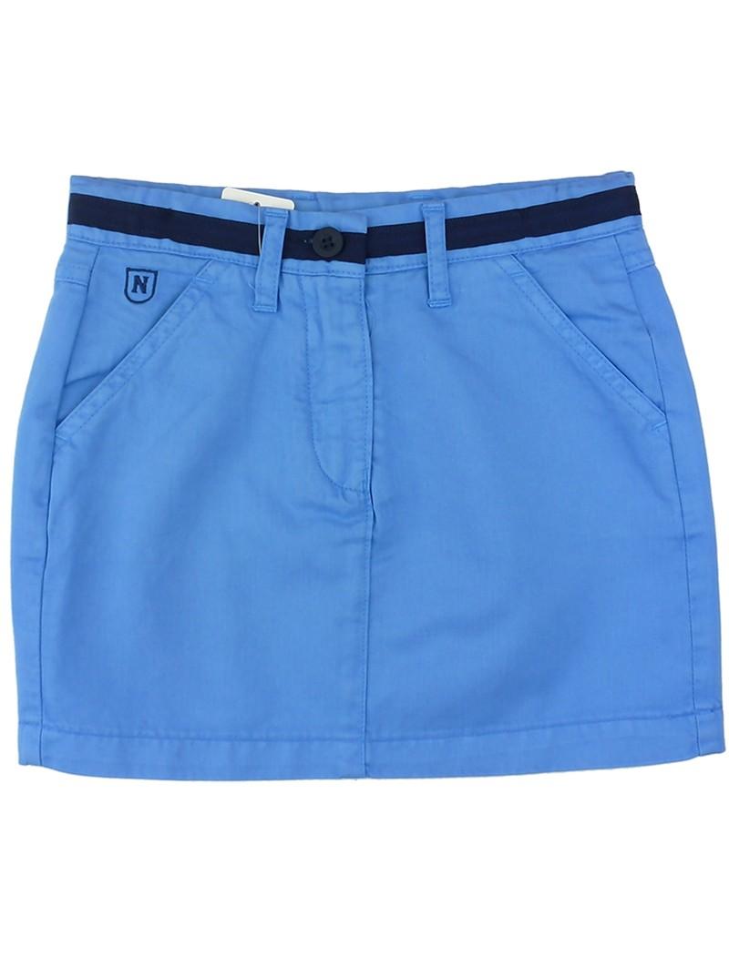 Falda azul con cinturón. Nachete