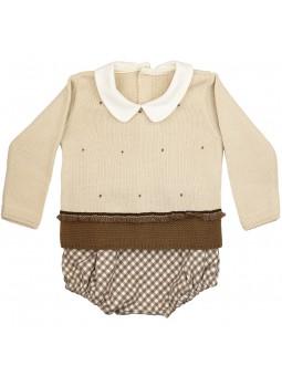 Rochy conjunto bebé jersey y bombacho vichy beige y marrón