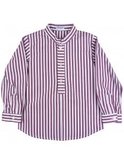 Ancar camisa de rayas blanca y burdeos