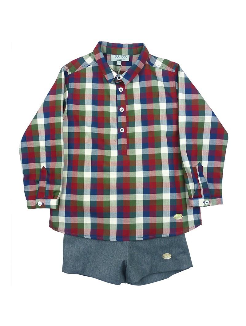José Varón conjunto de niño camisa de cuadros y short índigo