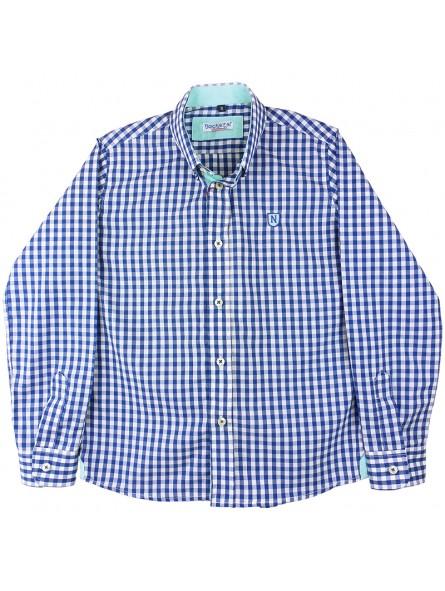 Nachete camisa de cuadros vichy azul y blanco