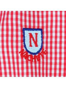 Nachete camisa de cuadros vichy a rojo y celeste detalle logo bordado