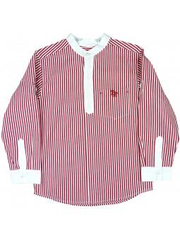 Tutto Piccolo camisa de rayas con cuello mao
