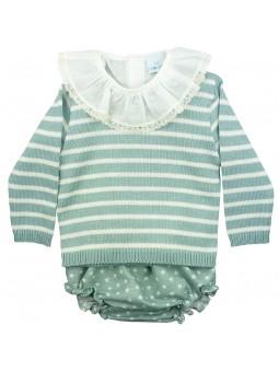 Paloma de la O. Conjunto de bebé blusa, sueter y braguita verde