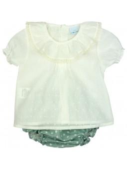 Paloma de la O. Conjunto de bebé blusa plumeti y braguita de lino verde