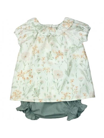 Paloma de la O. Conjunto de bebé con blusa estampada y braguita de plumeti gris
