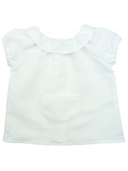 Paloma de la O. Camisa blanca con bolsillo delantero